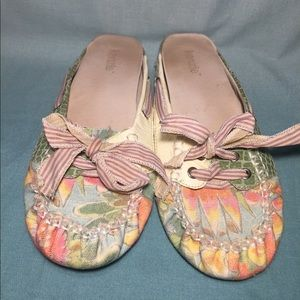 Kenzie multi pattern slip on loafers with bow